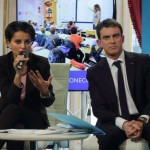 French Prime Minister Valls and Education and Research minister Vallaud-Belkacem attend a news conference in Pari